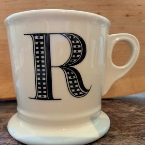 "Anthropologie ""R"" Initial Monogram Mug Ivory"